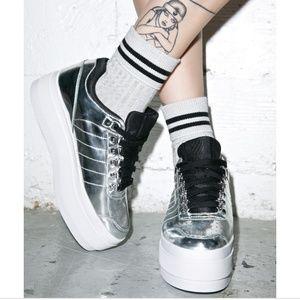 Silver Metallic Platform K Swiss Sneakers